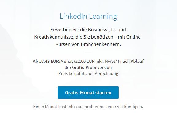 Preis von LinkedIn Learning um 50% erhöht.
