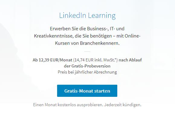 Diesen Preis bietet LinkedIn Learning an, wenn sich anonym informiert wird