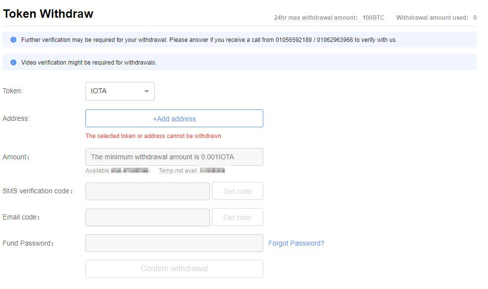 Es ist nicht möglich eine Adresse einzugeben, um die IOTA-Token vom Account zu entnehmen.